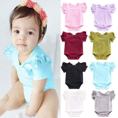 Infant Baby Girl Ruffles Flutter Sleeve Romper One Piece Bodysuit Clothes Outfit