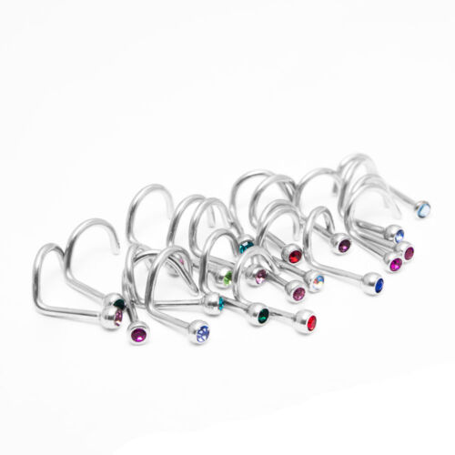 Nose Screw With Jewel Nose Rings 18g Surgical Steel Lot of 10