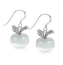 Pretty New Sterling Silver Plated White Opal Apple Hook Dangle Drop Earrings