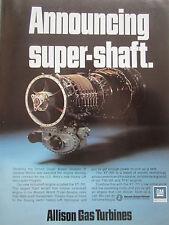 11/1973 PUB ALLISON GAS TURBINES GM DETROIT DIESEL XT-701 TURBOSHAFT ORIGINAL AD