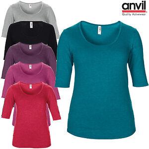 Anvil-Para-Mujer-Tri-mezcla-Escote-Redondo-Manga-3-4-T-Shirt-Llano-Damas-Informal-Camiseta-Nuevo