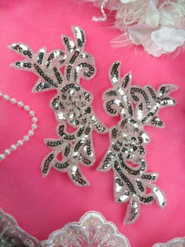 JB259 Sequin Appliques Silver MIRROR PAIR Floral Beaded Dance Patch 7/""