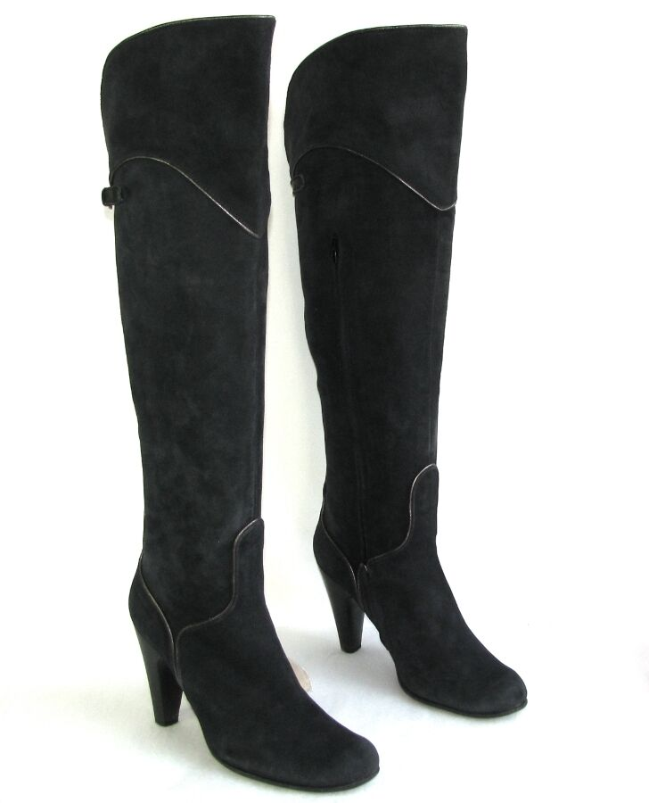 KATE Boots knees heels 9.5 cm leather velvet carbon gray 39 VERY GOOD CONDITION
