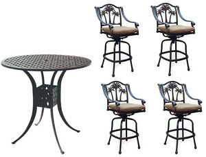 Image Is Loading Patio Bar Set With Palm Tree Swivel Chairs