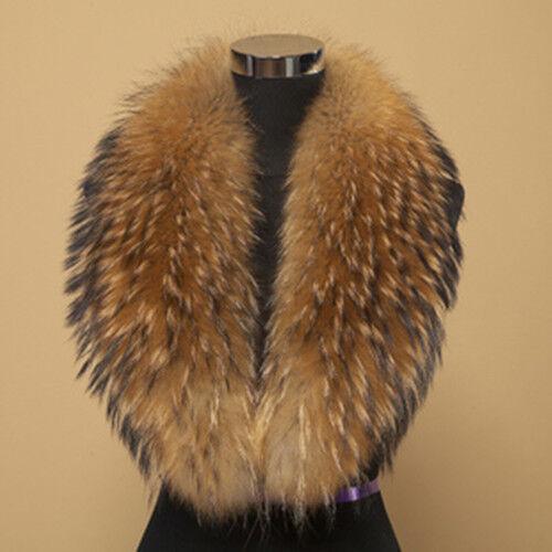 Real Raccoon Fur Collar Men&Women Handmade Trim Wrap Scarf Natural Brown 100cm