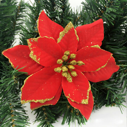 8pcs Glitter Poinsettia Artificial Flower Ornaments XmasTree Wreath Decorations