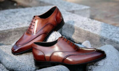 Men/'s Bespoke Handmade Brogue Formal Shoes Brown Leather Oxford Lace Up Shoes