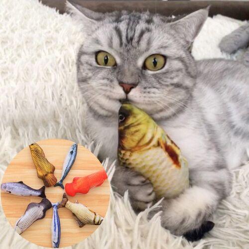 Funny Pet Kitten Cat Fish Shape Mint Grass Chewing Play Catnip Scratch Toys hi