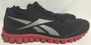 Image is loading Reebok-Realflex-Running-Shoes-Black-Suede-Red-J83212-