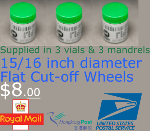 "Rotary Dremel Proxxon 409 HC-205 3 Vials Flat Cutting Cut-Off Wheels 15//16/"" Dia"