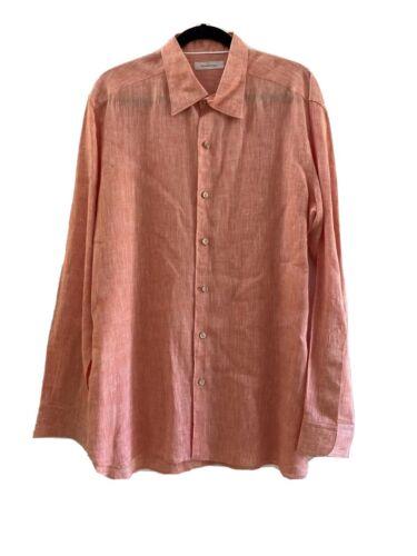 ERMENEGILDO ZEGNA Men's 100% Linen Long Sleeve Shi