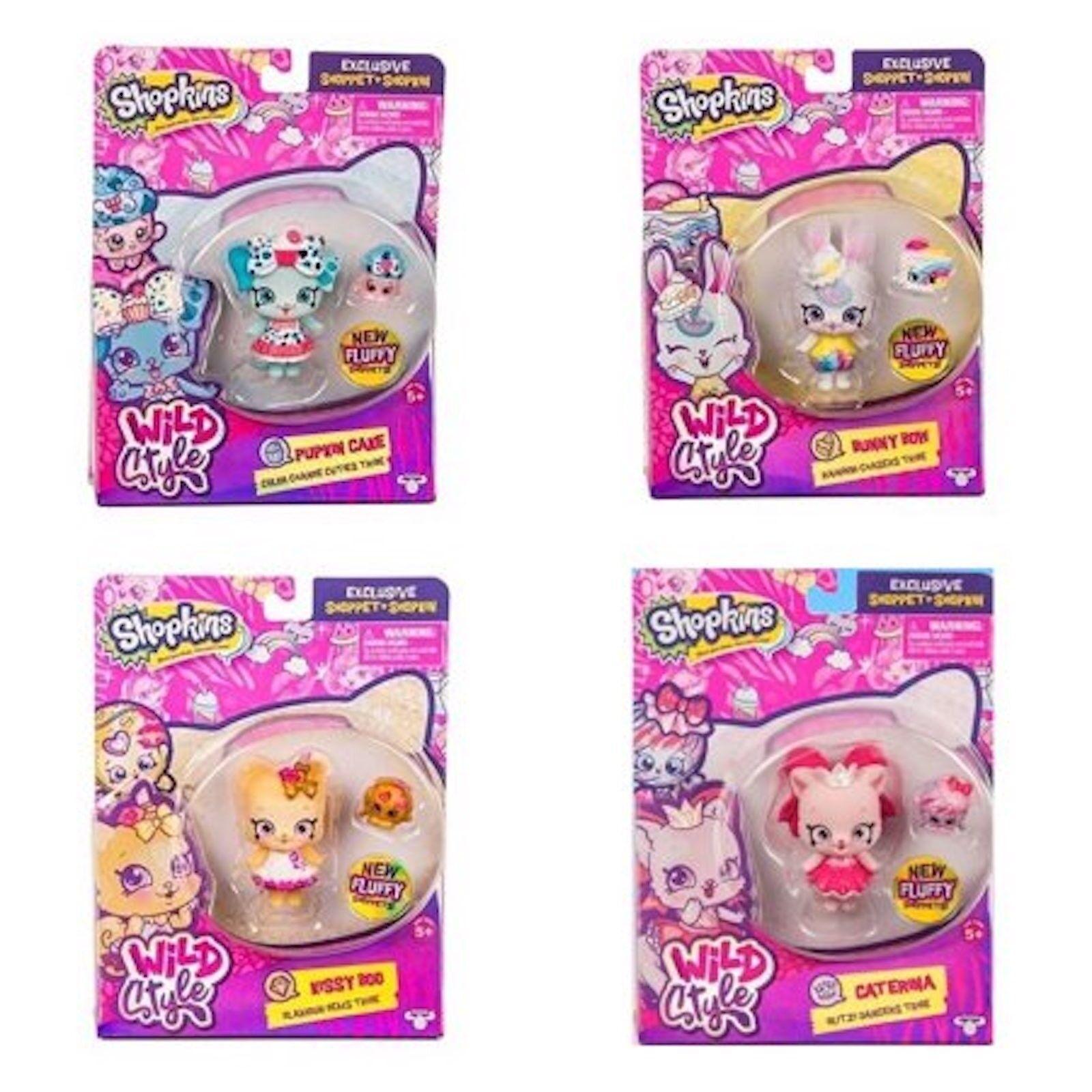 Shopkins Wild Style Season 9 Shoppet Pupkin Cake,Bunny Bow, Kissy Boo & Caterina