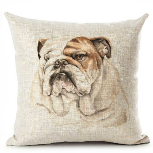 Dog Housse de Coussin Animaux Pug Pillow Cover Home Decor Cotton Linen taies