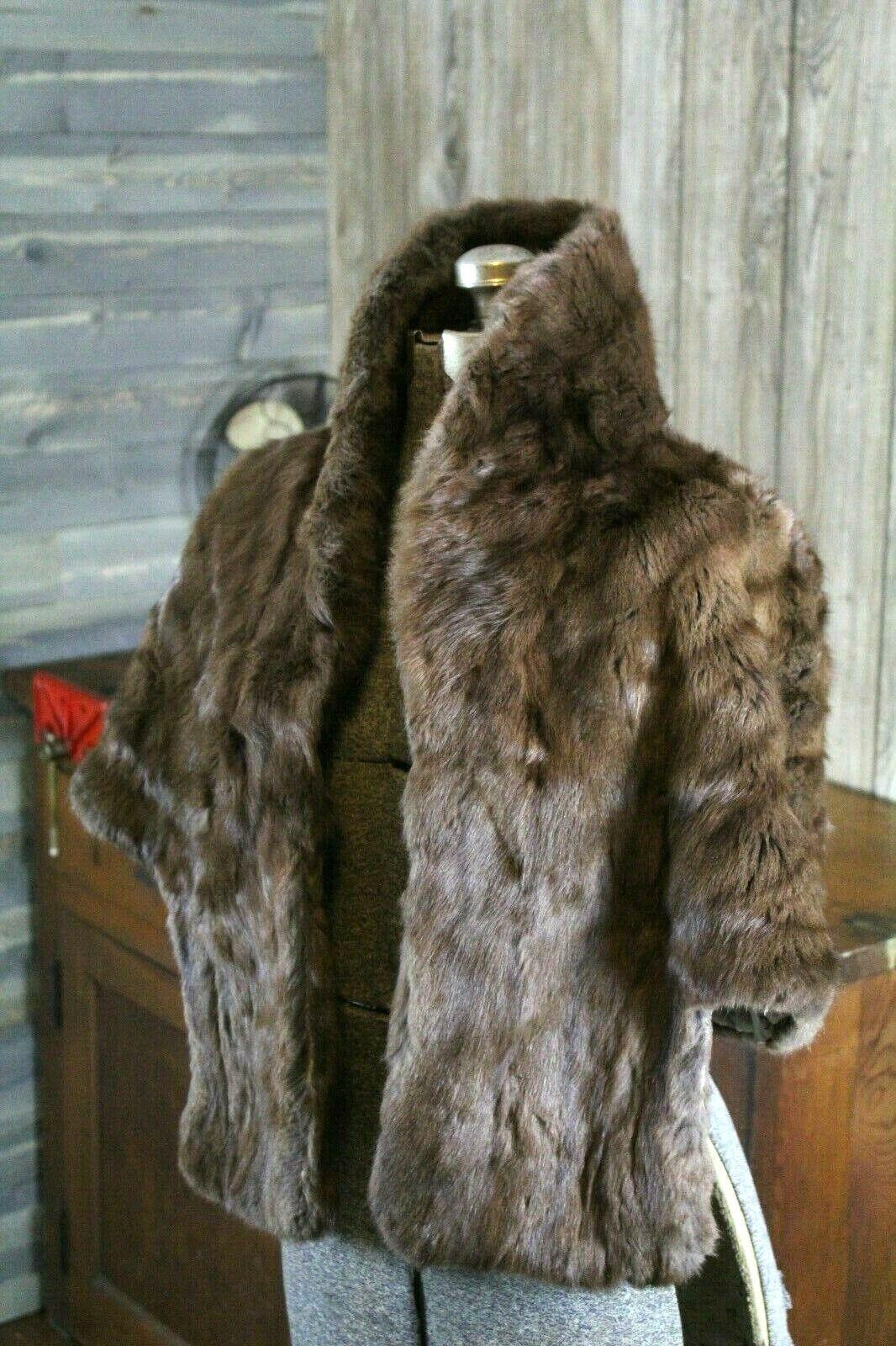 Vintage Goldblatt's Fur Shaw Stole Brown Mink Old… - image 1