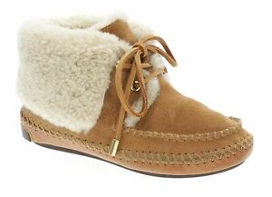 TORY-BURCH-Ankle-Booties-6-Womens-NATHAN-SHEARLING-Fur-Moccasins-Tie-Front-Boots
