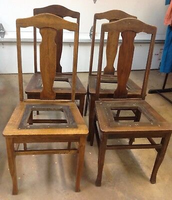 Set 4 Antique T Back Quarter Sawn American White Oak Wood Dining Table Chairs Ebay