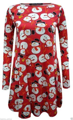 Rsvh WSD Femmes Noël à manches longues robe Swing Santa Bonhomme De Neige Arbres Top