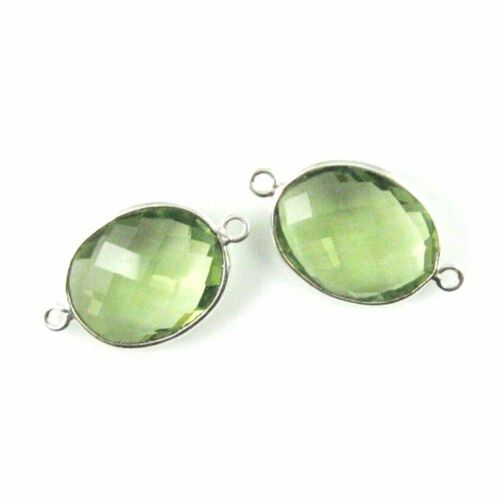 Bezel Gem Links Green Amethyst Quartz-2pcs Sterling Silver Faceted Oval Shape