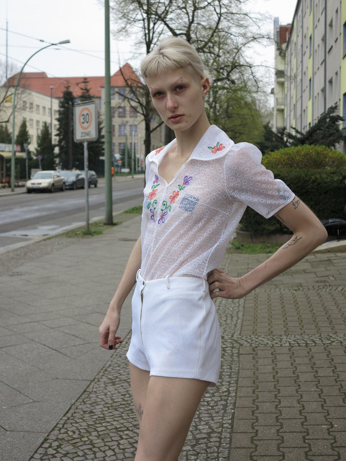 Donna Shorts Hot Pants Pantaloni Corti Estate Pantaloni Bianco True VINTAGE SUMMER PANTS 70s