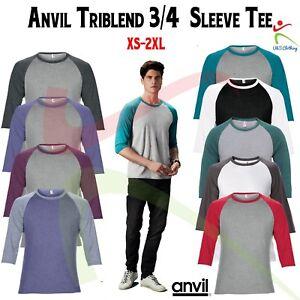 Anvil-Para-Hombre-Manga-raglan-Top-3-4-Triblend-T-Shirt-Tee-Casual-T-colores-en-contraste