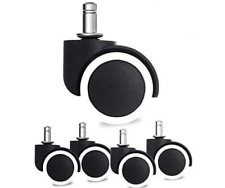 Set Of 5 Heavy Duty Office Chair Caster Rubber Swivel Wheels Replacement New