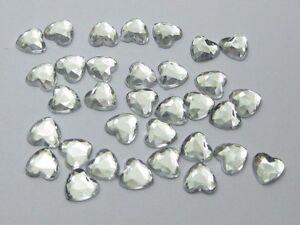 500-Clear-Acrylic-Faceted-Heart-Flatback-Rhinestone-Gems-6X6mm