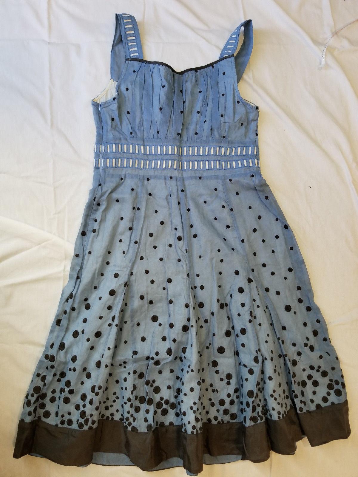 NWT 4 FLOREAT Anthropologie RARE Vintage Blau Embroiderot Day Dress