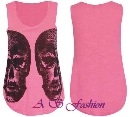 As17 delle donne signore Cranio Stampa senza maniche Racer Azteca Stretch T-SHIRT vesttop