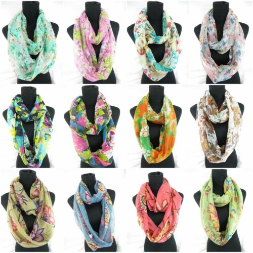 US SELLER-lot of 10 Chevron floral boho scarf infinity wholesale circle loop