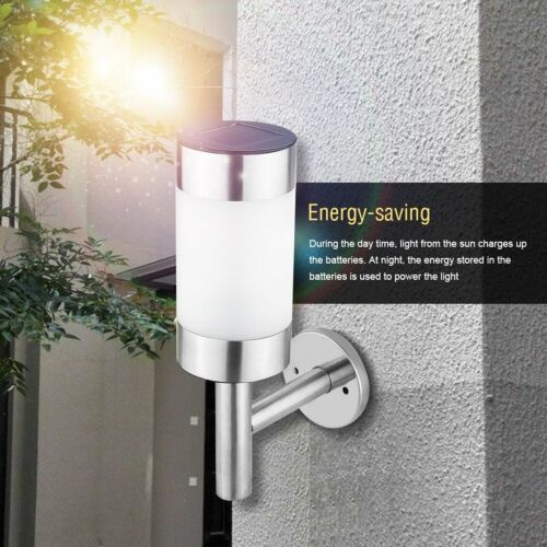 2XSolar Powered Garden Lights Outdoor Shed Fence LED Wall Lights Stainless Steel
