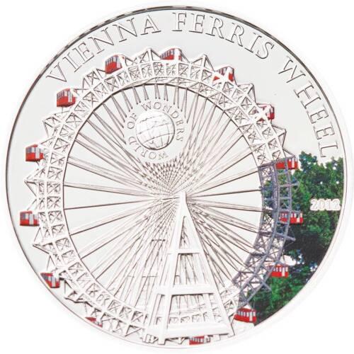 Palau 2012 5$ World of Wonders VI Vienna Ferris Wheel Silver Coin LIMIT 2500