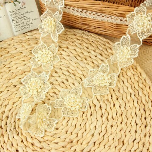 1 yard 4.5mm*5mm Flower Organza Lace Gathered Pleated Sequined Sewing Trim DIY
