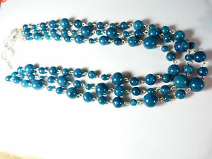 Signed-Bastian-Brothers-Triple-Strand-Turquoise-Beaded-Necklace-Vintage