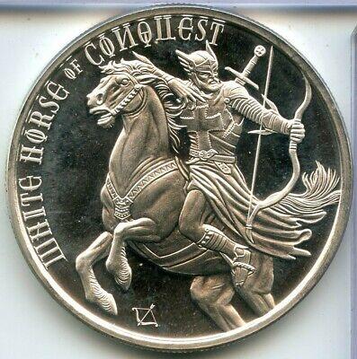 White Horse Of Conquest 4 Horsemen Apocalypse 1 Troy Oz .999 Fine Silver Round