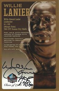 Willie Lanier Kansas City Chiefs Football Hall Of Fame Autographed Bust Card