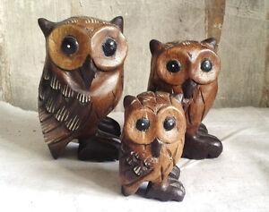 wundersch ne eulen aus holz kauz eule schuhu uhu kautz verschiedene gr en owl. Black Bedroom Furniture Sets. Home Design Ideas