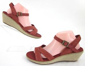 Details about *NEW!* Timberland Earthkeepers Whittier Wedge Sandals Antiqued Red Leather US 10