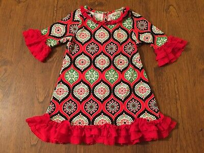 Rare Editions Christmas Toddler.Toddler Girls Rare Editions Christmas Holiday Dress With Ruffles Size 3t Euc Ebay