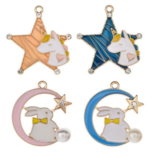 10Pcs Enamel Unicorn Star Rabbit Moon Charms Animal Pendant DIY Earring Necklace
