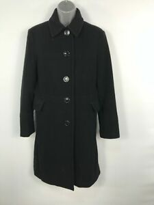 WOMENS-DONNYBROOK-BLACK-100-WOOL-BUTTON-UP-LONG-WINTER-OVERCOAT-JACKET-SIZE-12