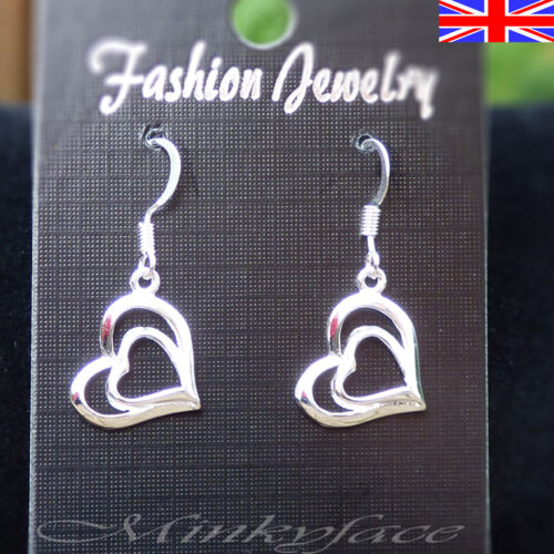 925 Sterling Silver plt Heart Earrings Drop Dangle Love Romance Free Gift Bag