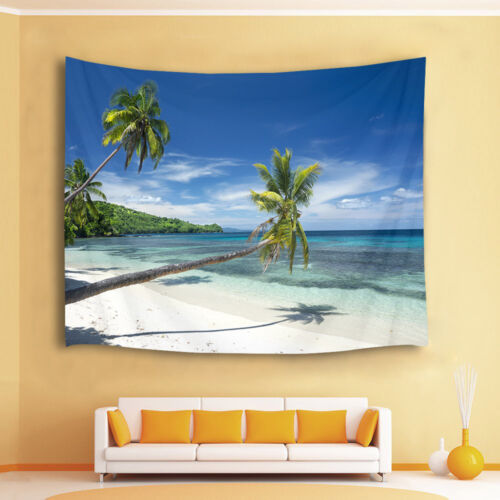 Sunny White Sand Beach Palm Tree Tapestry Wall Hanging Living Room Bedroom Dorm