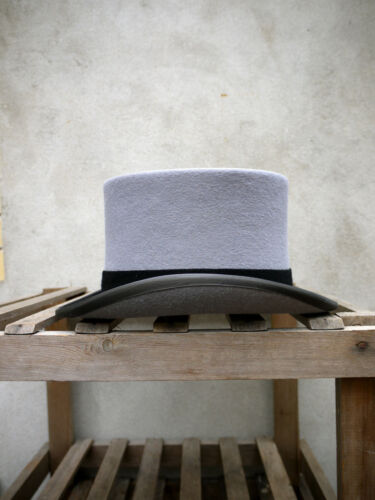 """Ascot Grey Fur Felt Morning Top Hat by Christys/' 5 1//4 /"""" standard crown height"""