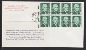 US Sc 1278a on 1971 FDC, 1c Jefferson Booklet Pane, Experimental Gum, electric