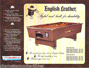 ENGLISH LEATHER By US BILLIARDS ORIG POOL TABLE SALES FLYER BROCHURE - Us billiards pool table