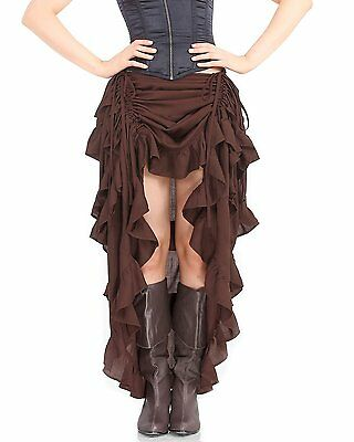 Steampunk Victorian Gothic Womens Costume Show Girl Skirt C1367 [Chocolate]