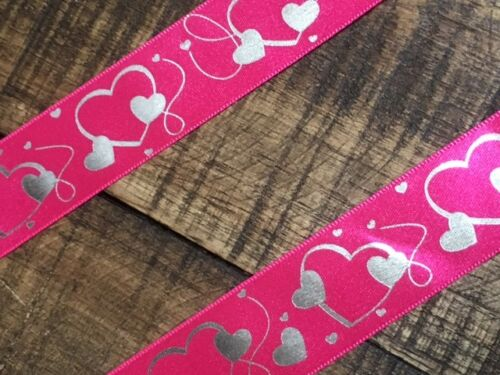 laverslace Bright Cerise Pink Silver Hearts Ribbon 25mm Crafts Decoration SALE