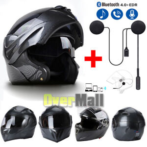 Motorcycle Bluetooth Helmets Modular Flip Up Full Face Dual Visor Carbon Fiber A