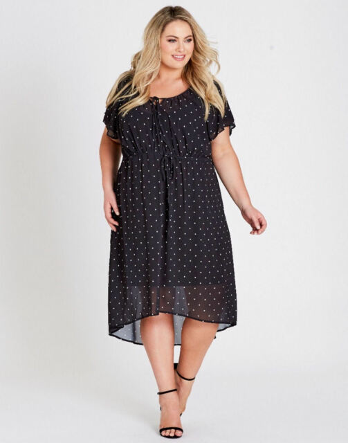 Autograph black polka-dot short sleeve slip lined drawstring waist DRESS 20 NEW