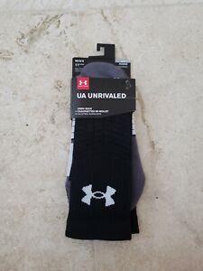 UNDER-ARMOUR-LOGO-MEN-UA-UNRIVALED-BLACK-GRAY-WHITE-CREW-SOCKS-1-PAIR-MD-14-NIP